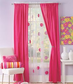 designs that inspire to create your perfect home. Love the polka dots on sheer curtains. easy DIY and easy to renovate girl's room