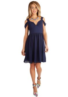Bonne Jovial Dress. You exemplify a festive look the moment you slip into this navy-blue, chiffon dress! #blue #prom #wedding #bridesmaid #modcloth