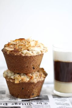 Sprinkle Bakes: Coconut Cappuccino Muffins - the base is a coffee batter with mini chocolate chips, the middle is a cream cheese center batter, and the top is a crunchy coconut streusel