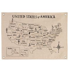 The Land of Nod   Kids Wall Decor: Canvas America Map Banner in Maps & Places Wall Art