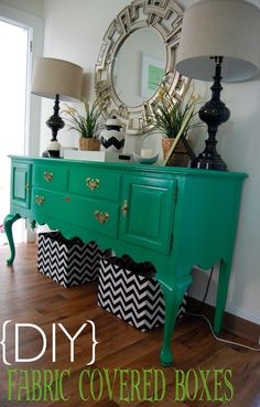 Made2Style: {DIY} Fabric Covered Boxes, actually pinning this because of the color of the side table