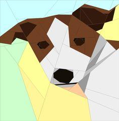 """Pepsi Jack Russell Terrier Paper Pieced Pattern (12"""") quiltartdesigns.blogspot.com"""