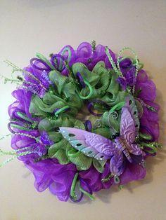 Purple/Green Spring Deco Mesh Wreath w/Butterflies and Deco Flex Tubing Ribbon