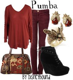 disney style, red jeans, pumba, disney bounding, outfit