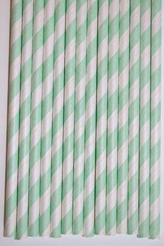 50 Mint Striped Paper Straws birthday party bridal shower, cake pop sticks bonus diy straw flags. $8.00, via Etsy.