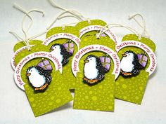 christma card, gift tag, pennies, bright cardstag, black card