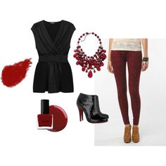Red Python Skinny Jeans, created by ladylopez on Polyvore