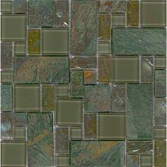 "Elida ceramica 12"" x 12"" mosaic verdi slate glass wall tile"
