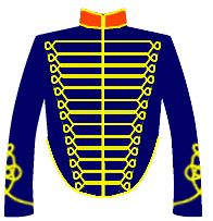 Very similar to the type of jacket worn by the British Horseguards, not sure why they sometimes wear red or a dark one with more braid like this one.