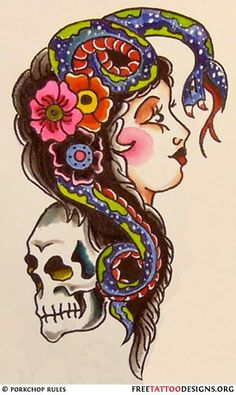 sailor jerry skull and snake  Old school tattoo desig...