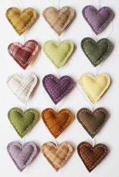 hand sewn wool heart ornaments