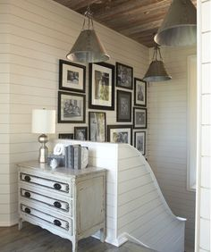 Suzie: Tracery Interiors - Beachy cottage foyer entry design with gray washed vintage chest, ...