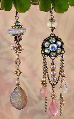Faerie Splendor, asymmetrical earrings by MiaMontgomery on Etsy