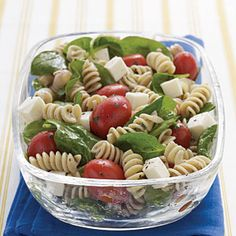 Spinach, Tomato, and Fresh Mozzarella Pasta Salad with Italian Dressing Recipe