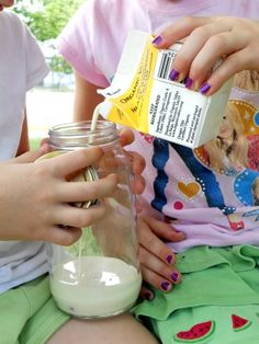 Making butter with cream, a marble, and a jar. Loved doing this as a kid