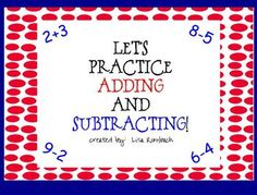 Addition & Subtraction Activities SmartBoard Lessons for primary grades (.notebook file) $