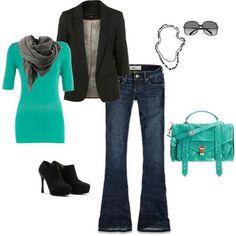 Mint top, grey scarf, jeans/dress pants and blazer