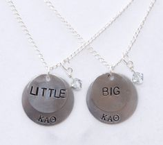 Big/Little Sorority Necklace Set  The perfect gift for you and your big or little! Two handstamped necklaces with your sorority letters and big/little! $27.50 for the set, via Etsy.