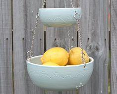 Hanging Fruit Basket - Aqua. , via Etsy.
