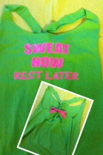 Sweat Now Rest Later Neon GreenRacerback Work-out Tank Top. $22.00, via Etsy.