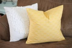 Pillows and envelope slipovers for throw pillows are way easy and great first project. Good tutorial by Mom It Forward.