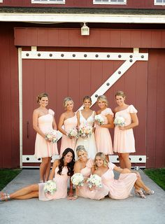 bride maids, barn, pink bridesmaid dresses, pale pink, bridesmaid colors, the dress, wedding colors, dress styles, rustic wedding bridesmaids