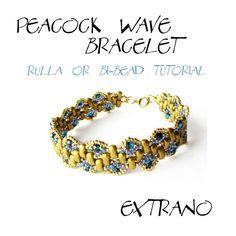 *P TUTORIAL - Rulla, Bi-Beads Bracelet - PEACOCK WAVE - immediate download