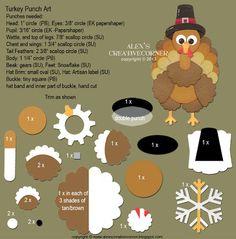 Turkey Punch Art  @Eileen Tucker stampin up thanksgiving, turkey punch, creativ corner, punch art, art instruct, alex creativ, alex o'loughlin