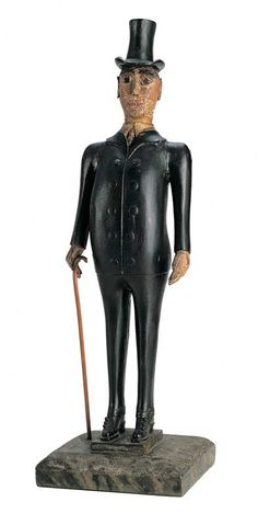 """Artist unidentified, Northeastern United States c. 1890, """"Man in a Top Hat With Cane"""". Museum of American Folk Art, NY"""