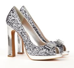 Peep toe glitter pumps.