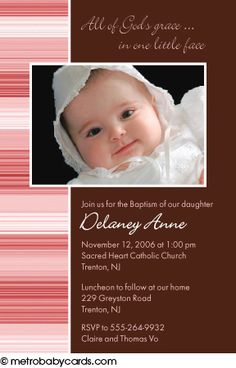 Photo Baptism/Christening Invitations :: Faith Pink Design