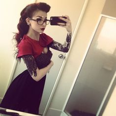 Tattooed retro-looking girl taking pictures of herself. #tattoo #tattoos #ink #inked