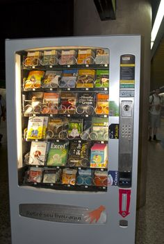 """""""Book Vending: Book shops are common at Metro stops but this is the first vending machine we've seen in the city. (Paraiso Metro [São Paulo, Brazil])"""" -- See stats and details in an article here: http://news.bbc.co.uk/2/hi/americas/3145269.stm"""