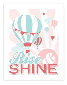 Rise & Shine Hot Air Balloon Nursery Decor /// 11 x by Kindertype, $28.00 hot air balloon nursery, balloon nurseri, idea, nurseries, shine hot, nursery decor, babi, hot air balloons, nurseri decor