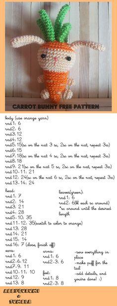 carrot bunny - crochet free pattern