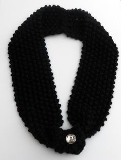 Knitted Black Cowl Scarf with Jewel Button by stinkR on Etsy, $25.00