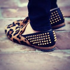 Studded Leopard Loafers