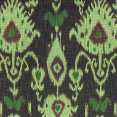 Brown and green ikat fabric