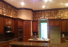 Faux stone finish in the kitchen