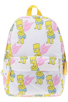 "ROMWE | ""Wings Simpson"" White Backpack, The Latest Street Fashion"