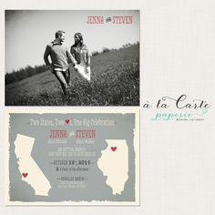 Two States, Two Hearts, One Big Celebration - Wedding Invitation Card via Etsy