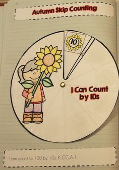 Autumn Skip Counting by 10s interactive spinner for math notebooks >> Part of the Autumn Interactive Notebook Math Activities for Kindergarten