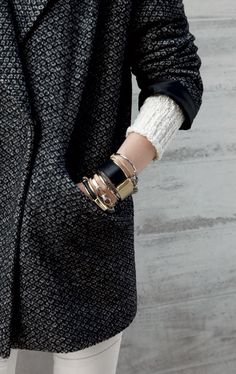 Make a fall statement with your jewelry by mixing gold with silver.   Stackable bracelets from Banana Republic