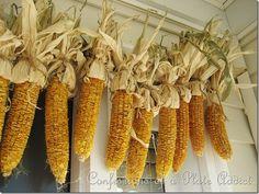 corn garland - love this! fall flowers, fall decor, fall planters, corn garland, fall crafts, front doors, fall pumpkins, garlands, front porches