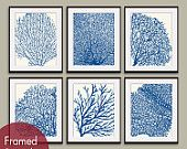 Underwater Sea Coral Collection (Series D) -Set of 6 - 8x10 Prints - Featured in Soft Cream and Hotel Towel