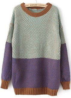Blue Long Sleeve Vintage Loose Sweater SKU:sweater13110903 32 review(s)  In Stock  EUR€23.38