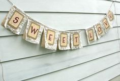 SWEET LOVE Burlap and Lace Banner, Custom Colors Available. $55.00, via Etsy.
