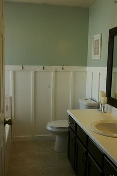 Wainscoting for the bathroom., I have a similiar version in my bedroom. Love it!
