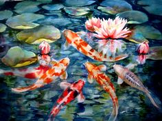 """""""Koi Pond with Water Lily"""" by Sharon Carr.  Beautifully bright colors on those koi!"""