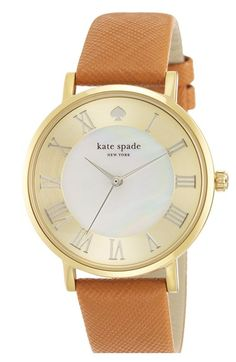 kate spade new york 'metro grand' round leather strap watch, 38mm #nsale